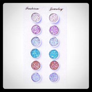 Glitter stud resin earrings NWT